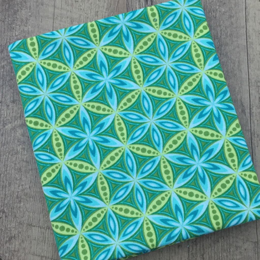 Quilting Fabric Yardage - Transformation Flower of Life Turquoise / Green by Sarah Vedeler for Contempo Benartex (100% Cotton, Quilting Fabric)