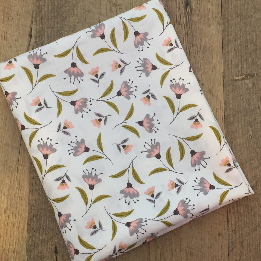 Quilting Fabric Yardage - Captivate Blossoms in White by Alisse Courter for Camelot Fabrics (100% Cotton, Quilting Fabric)