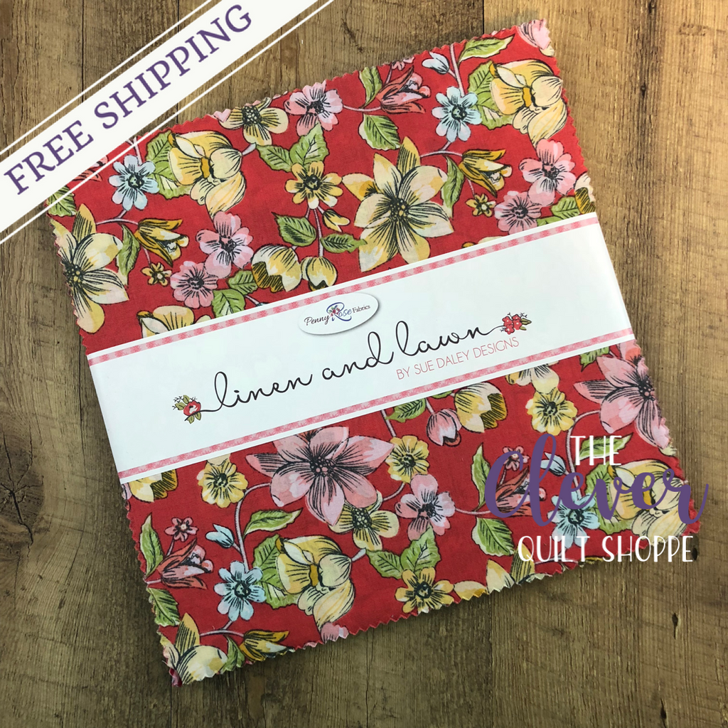 Layer Cake Squares, Penny Rose Fabrics, Linen and Lawn, Sue Daley Designs-The Clever Quilt Shoppe