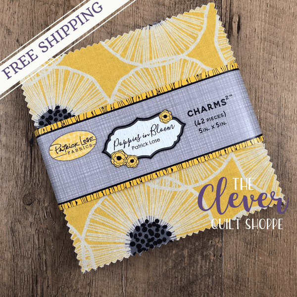 Charm Pack Squares, Poppies in Bloom, Patrick Lose, Yellow-The Clever Quilt Shoppe
