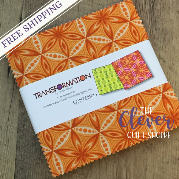 "Transformation by Sarah Vedeler for Contempo / Benartex Charm Pack Quilting Fabric - 5"" Squares - (Precut Quilting Fabric, 100% Cotton)-The Clever Quilt Shoppe"