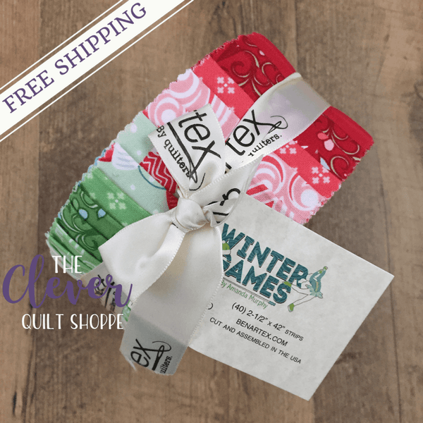 "Jelly Roll 2.5"" Strips, Winter Games, Amanda Murphy, Contempo, 40 pcs Precut Quilting Fabric-The Clever Quilt Shoppe"