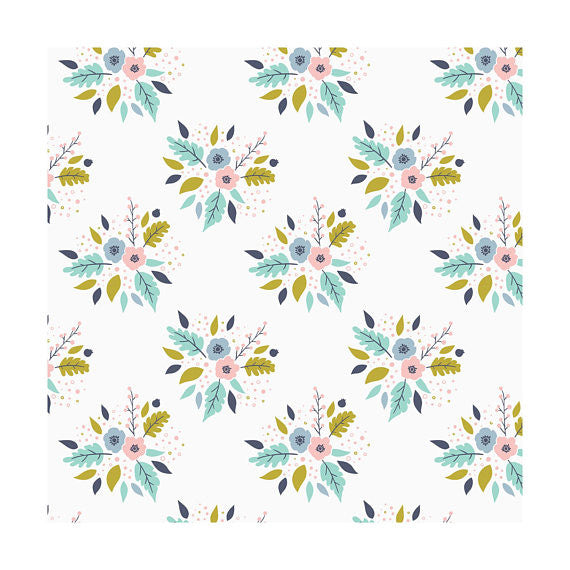 Bouquet in White, Meadow, Camelot Fabrics (100% Cotton, Quilting Fabric Yardage)
