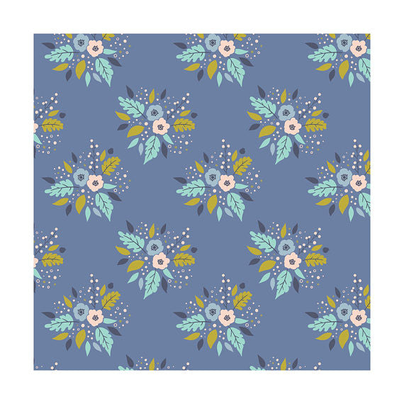 Bouquet in Blue, Meadow, Camelot Fabrics (100% Cotton, Quilting Fabric Yardage)