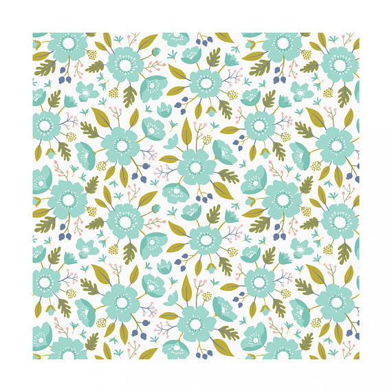 Meadow Wildflowers Mint (Green), Camelot Fabrics (100% Cotton, Quilting Fabric Yardage)