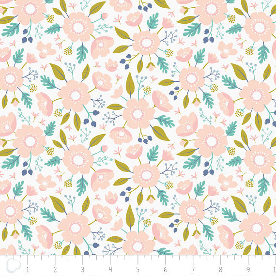 Meadow Wildflowers Blush (Pink), Camelot Fabrics (100% Cotton, Quilting Fabric Yardage)