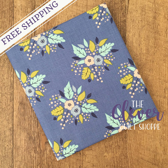 Bouquet in Blue, Meadow, Camelot Fabrics (100% Cotton, Quilting Fabric Yardage)-The Clever Quilt Shoppe