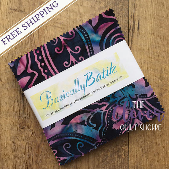 "Basically Batik, Charm Pack, 40 - 5"" Squares, Benartex, (100% Cotton, Precut Quilting Fabric)-The Clever Quilt Shoppe"