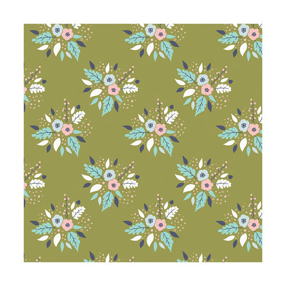 Bouquet in Cactus, Meadow, Camelot Fabrics (100% Cotton, Quilting Fabric Yardage)-The Clever Quilt Shoppe