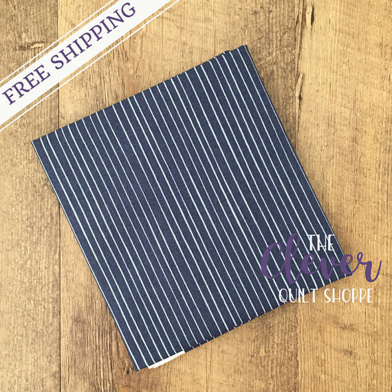Stripe in Dark Blue, Meadow, Camelot Fabrics (100% Cotton Quilting Fabric, Yardage)