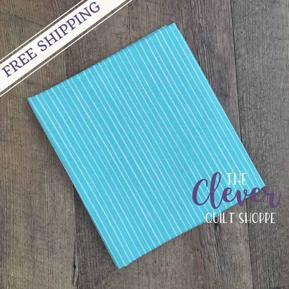 Stripe in Turquoise, Meadow, Camelot Fabrics (100% Cotton Quilting Fabric, Yardage)-The Clever Quilt Shoppe