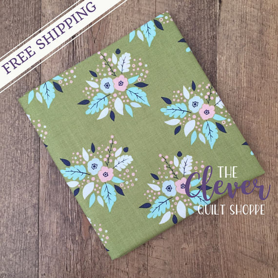 Bouquet in Cactus, Meadow, Camelot Fabrics (100% Cotton, Quilting Fabric Yardage)