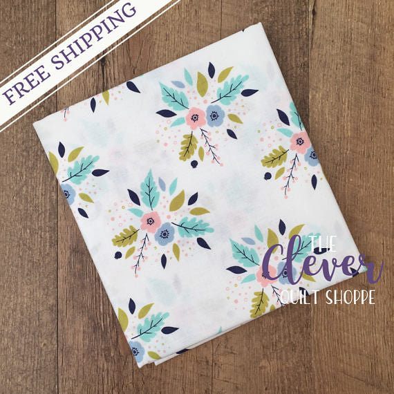Bouquet in White, Meadow, Camelot Fabrics (100% Cotton, Quilting Fabric Yardage)-The Clever Quilt Shoppe