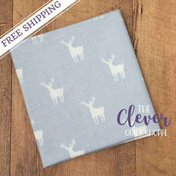 Meadow Deer Blue, Camelot Fabrics (100% Cotton Quilting Fabric, Yardage)