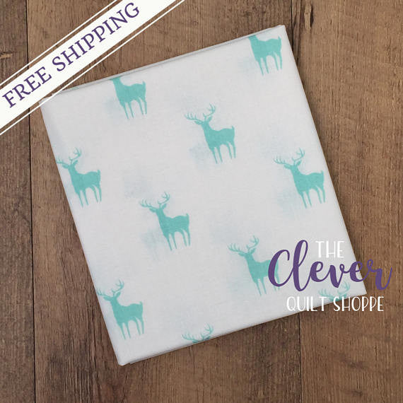 Meadow Deer Mint (Green), Camelot Fabrics (100% Cotton Quilting Fabric, Yardage)