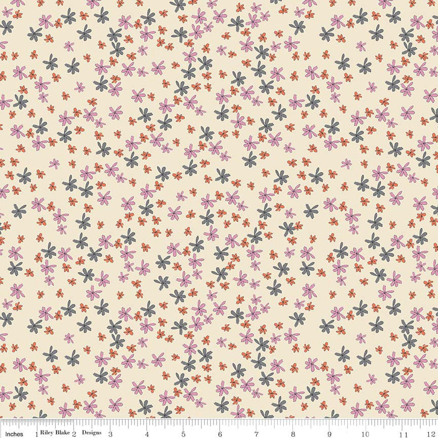 Zombie Love Floral Cream - By Emily Taylor for Riley Blake Designs, 100% Cotton Quilting Fabric Yardage