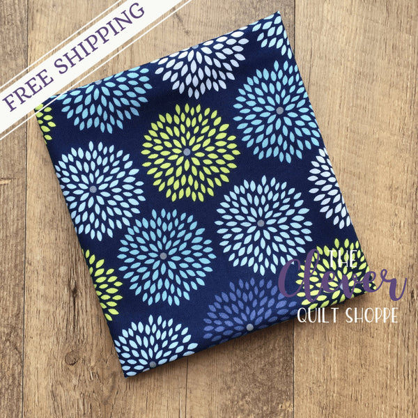 Bursting Blooms Navy, Dog Gone It, Jack!e, Camelot Fabrics, 100% Cotton Quilting Fabric Yardage