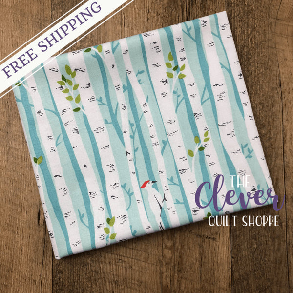 Yardage, Michael Miller Fabric, Project Dovetail, Birch Forest Too, Mist-The Clever Quilt Shoppe