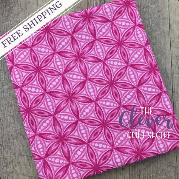 Quilting Fabric Yardage - Transformation Flower of Life Pink by Sarah Vedeler for Contempo Benartex (100% Cotton, Quilting Fabric)