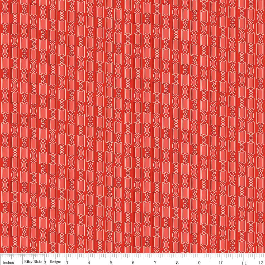 Geometric Red of Ardently Austen by Amanda Herring for Riley Blake Designs  (Yardage, 100% Cotton Quilting Fabric)