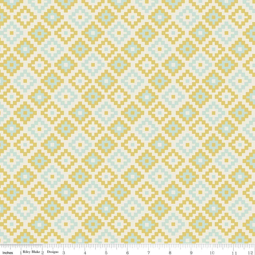 Geometric Green of Woodland Springs by Dani for Riley Blake Designs (Yardage, 100% Cotton Quilting Fabric)