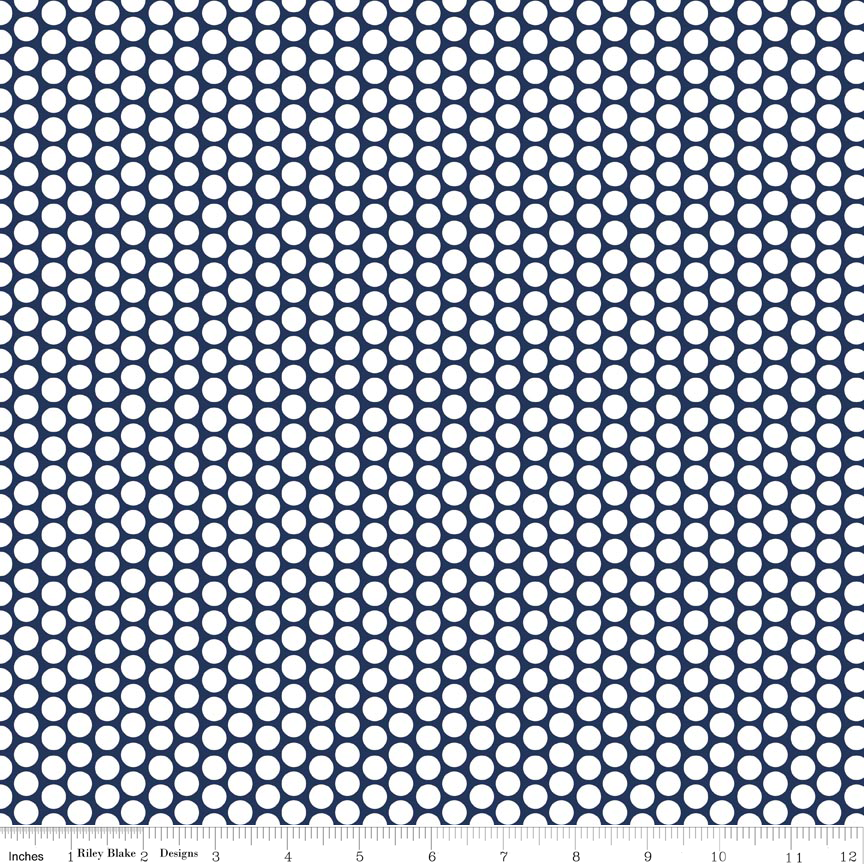 White Honeycomb Dot on Navy for Riley Blake Designs Basics