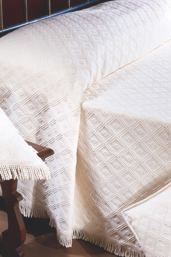 <transcy>RHOMBUS BEDSPREAD IN PURE COTTON</transcy>