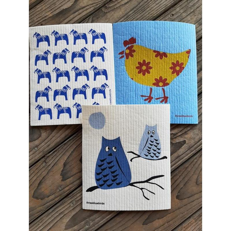 Swedish Dishcloth by Three Bluebirds Pack of 3 Horses Chicken Owls
