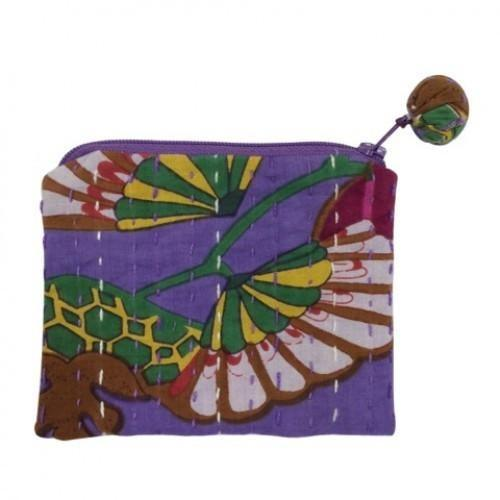 Hand Stitched Kantha Cosmetic Bag by Global Girlfriend - Robinsons Nest - 4