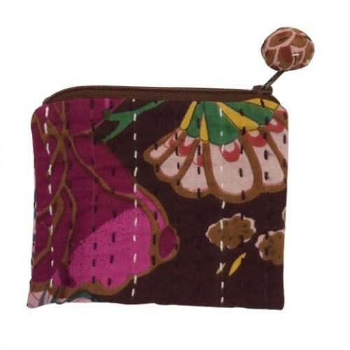 Hand Stitched Kantha Cosmetic Bag by Global Girlfriend - Robinsons Nest - 3