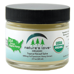 Nature's Love Topical ReLeaf Salve with 500 mg Full Spectrum Hemp Extract