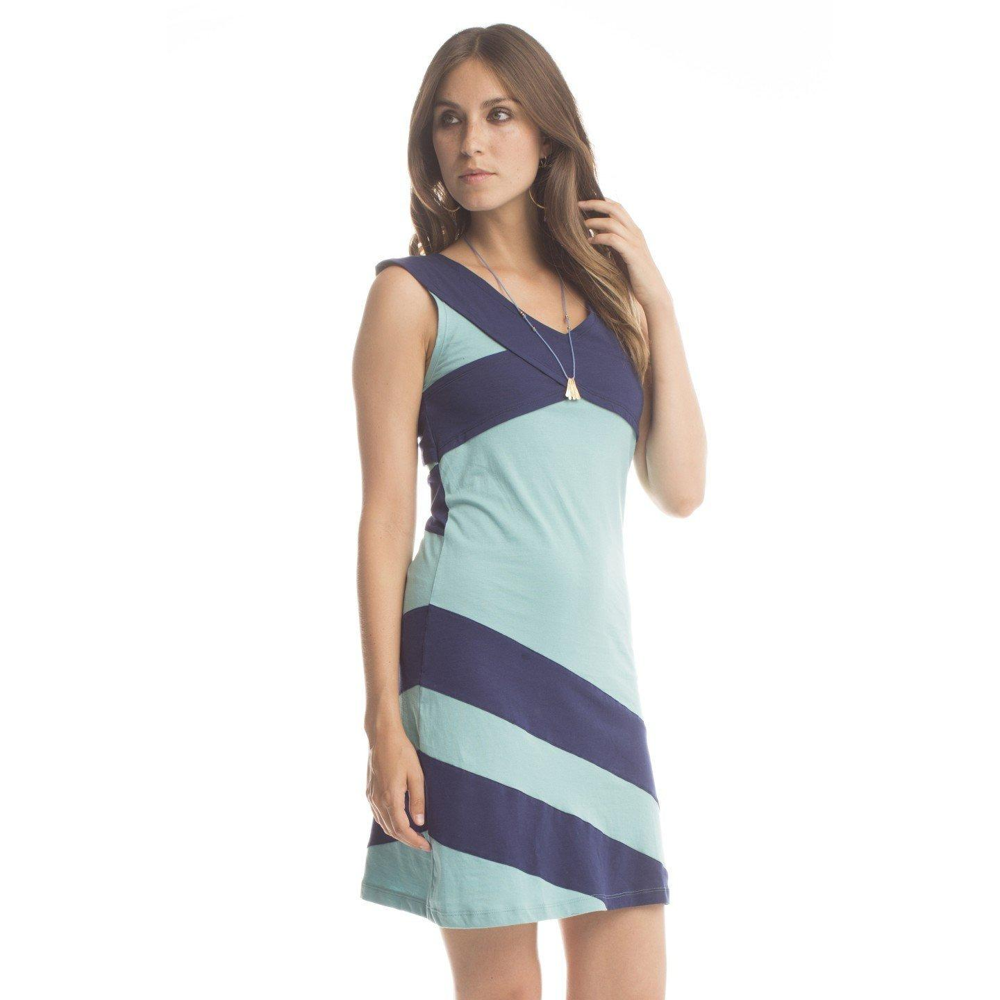 Synergy Organic Clothing Criss Cross Dress - Aquamarine/Sapphire - Robinsons Nest
