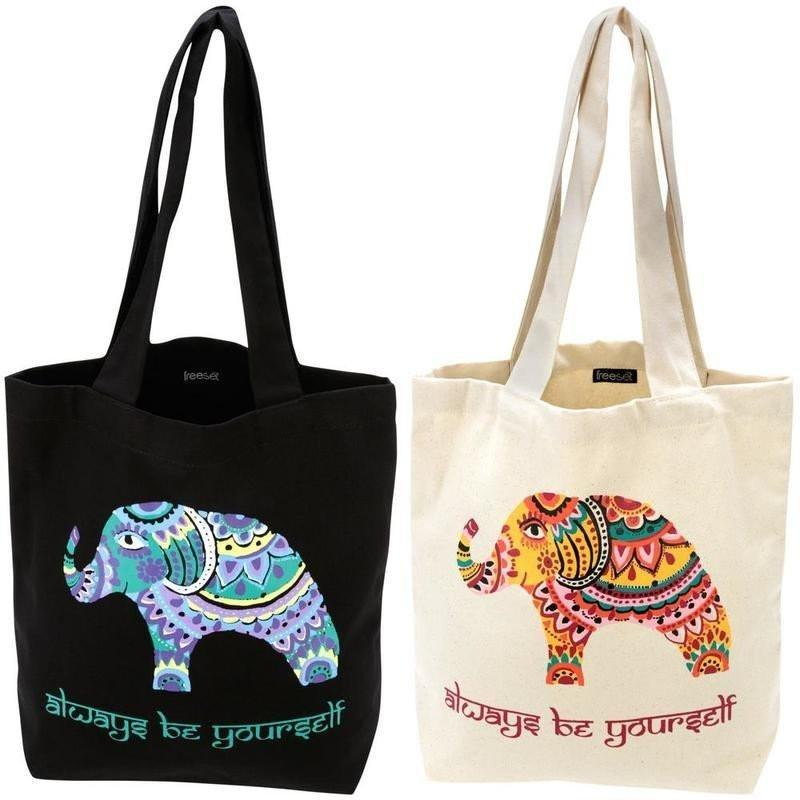 Bohemian Elephant Tote by Global Girlfriend 100% Organic Cotton Fair Trade