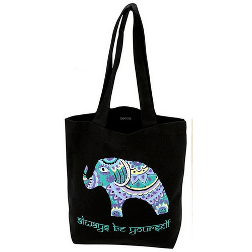 Bohemian Elephant Tote by Global Girlfriend 100% Organic Cotton Fair Trade - Robinsons Nest