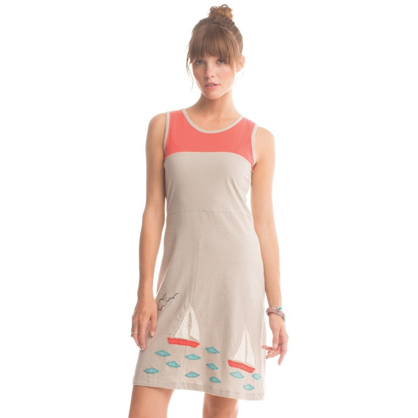 Synergy Organic Clothing Sailboat Applique Beatrice Dress - Robinsons Nest - 3
