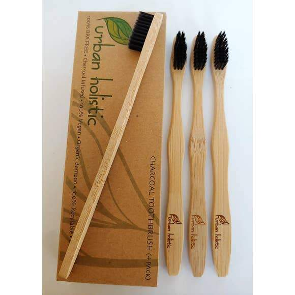 Urban Holistic Biodegradable Bamboo Charcoal Toothbrush Set of (4)