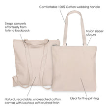 Load image into Gallery viewer, BRUSHED CANVAS CONVERTIBLE BACKPACK TOTE