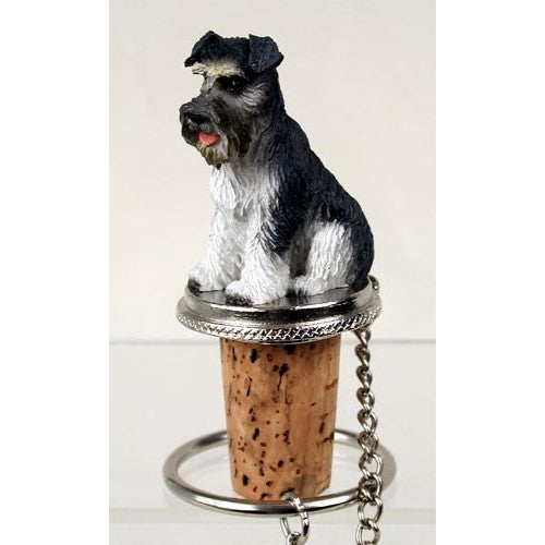 Schnauzer Gray Uncropped Tiny One Bottle Stopper DTB103B - ArtsiHome