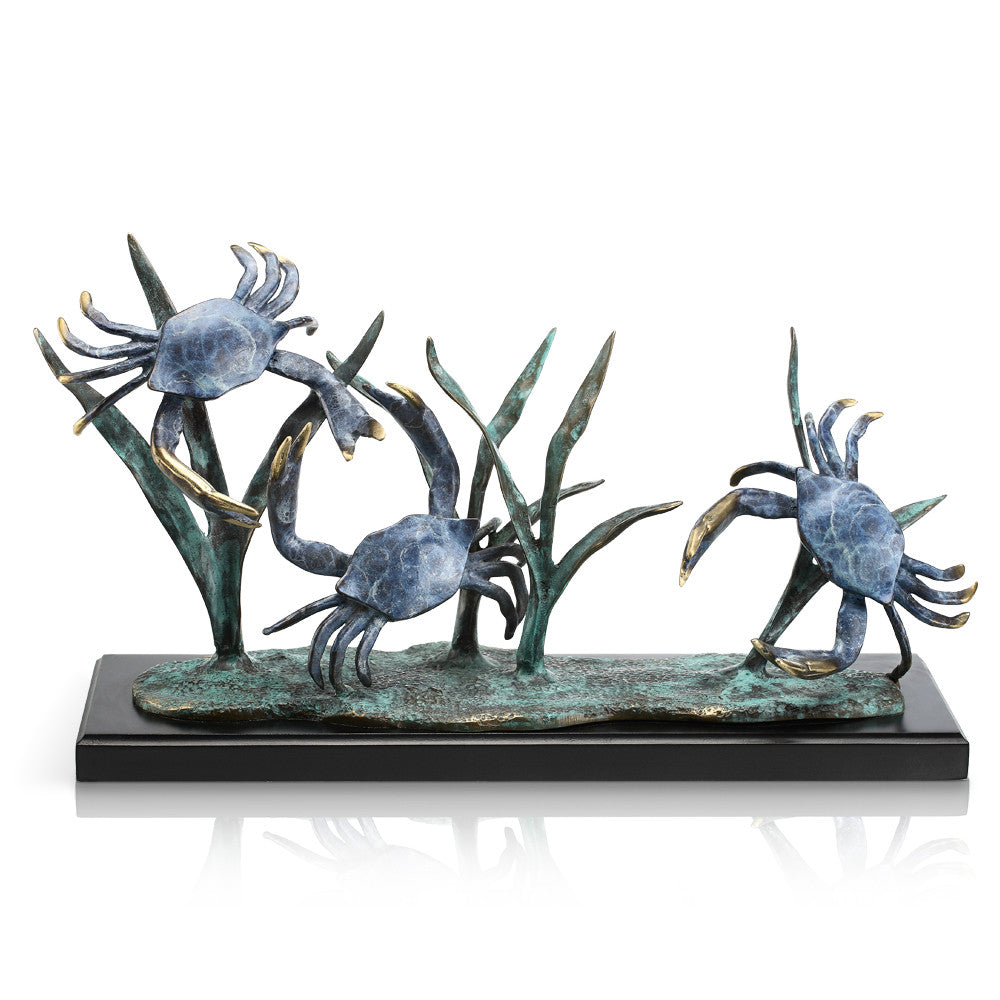 SPI San Francisco Bay Trio Crabs Marble and Brass Sculpture - ArtsiHome