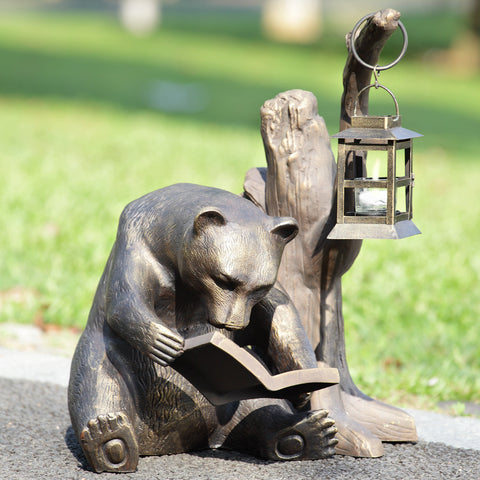 SPI Garden Collection Booklover Bear Garden Lantern - ArtsiHome