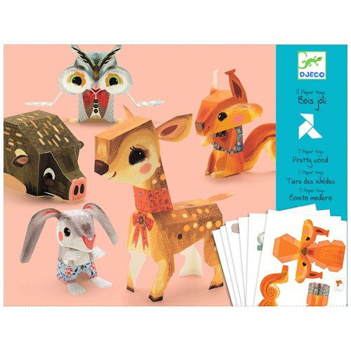 Djeco Folded Paper Toy Kit, Pretty Woodland Animals - ArtsiHome
