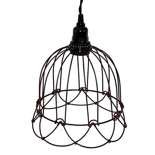 Wire Bell Pendant Lamp In Greenrust