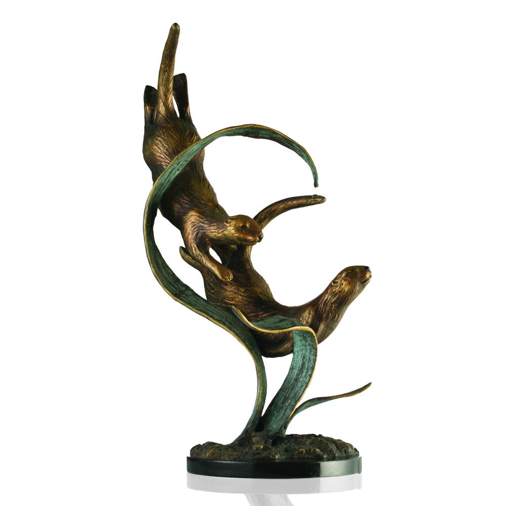 SPI Deep Diver Otters Brass and Marble Sculpture - ArtsiHome