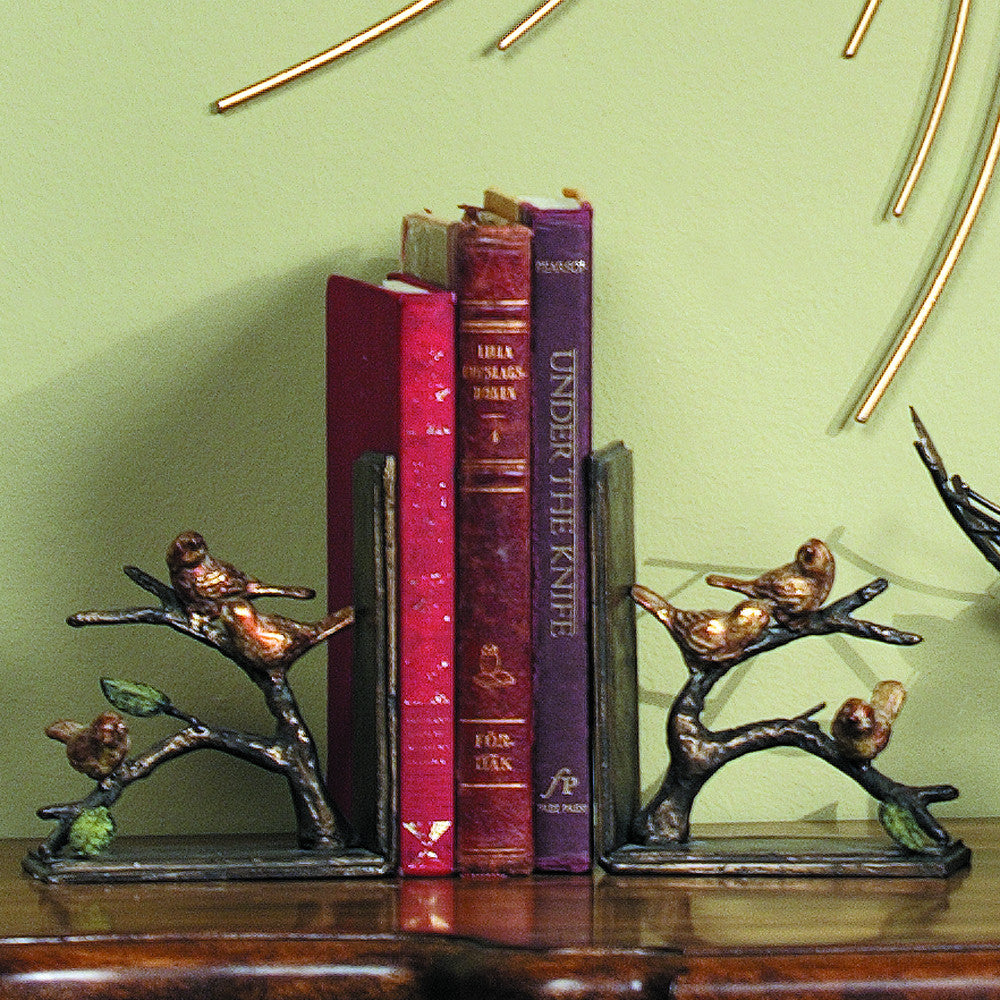 Sparrows on a Branch Pair of Bookends - ArtsiHome