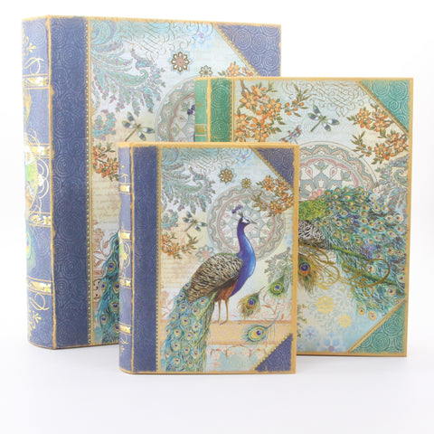 Royal Peacock Set of 3 Large Nesting Book Boxes - ArtsiHome
