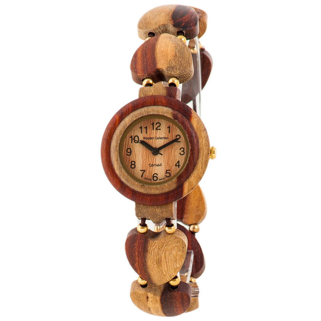 Tense Womens Solid Wood Heart Hypo-Allergenic Wrist Watch L7007I - ArtsiHome