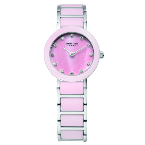 Bering Time 11422-999 Ladies Pink and Silver Ceramic Watch - ArtsiHome