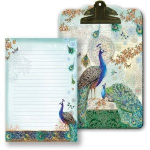 Punch Studio Royal Peacock Clip Board & Note Pad - ArtsiHome