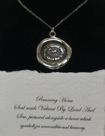 Pyrrha Design Sterling Silver Talisman Wax Seal Necklace 18 Running Horse - ArtsiHome