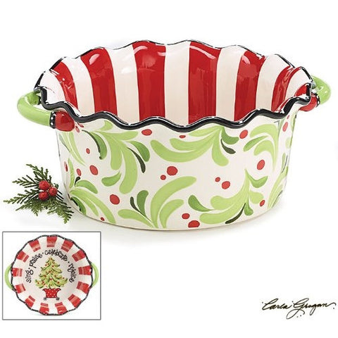 Christmas Holly and Red Berries Scalloped Casserole Baking Dish Great Holiday Serving and Baking Dish - ArtsiHome